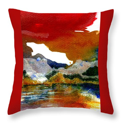 Copper Lake Throw Pillow featuring the painting Copper Lake by Melody Horton Karandjeff