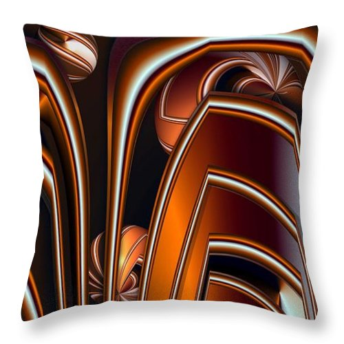 Abstract Throw Pillow featuring the digital art Copper Shields by Ron Bissett
