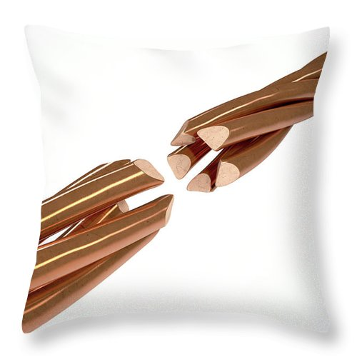 Copper Throw Pillow featuring the digital art Copper Wire Strands Disconnected by Allan Swart