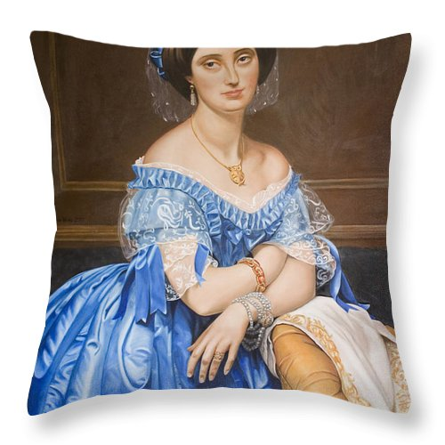 Ingres Throw Pillow featuring the painting Copy After Ingres by Rob De Vries