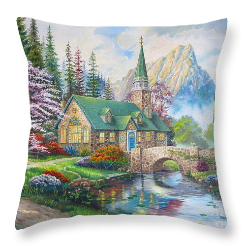 Dogwood Chapel Throw Pillow featuring the painting copy of Dogwood Chapel by Elena Yalcin