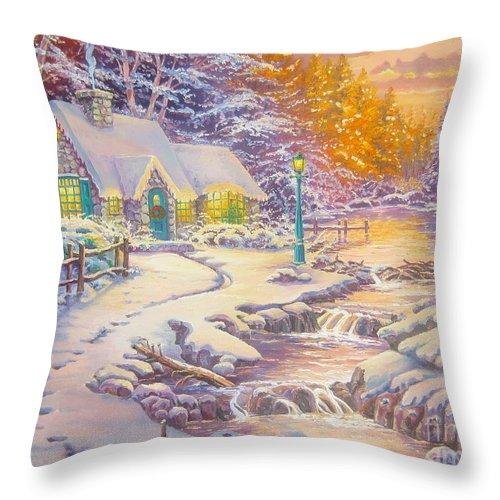 Thomas Kinkade Throw Pillow featuring the painting copy of Evening Glow by Elena Yalcin