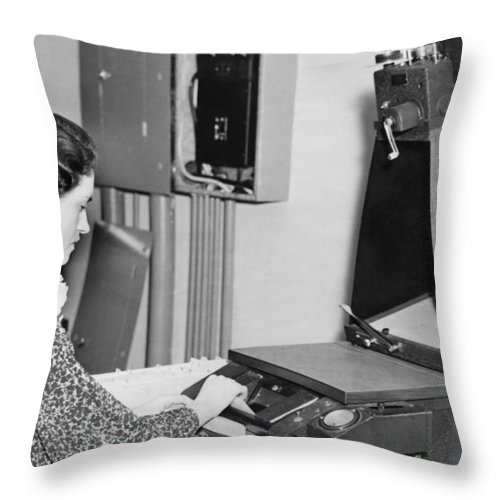 1 Person Throw Pillow featuring the photograph Copying Archival Documents by Underwood Archives