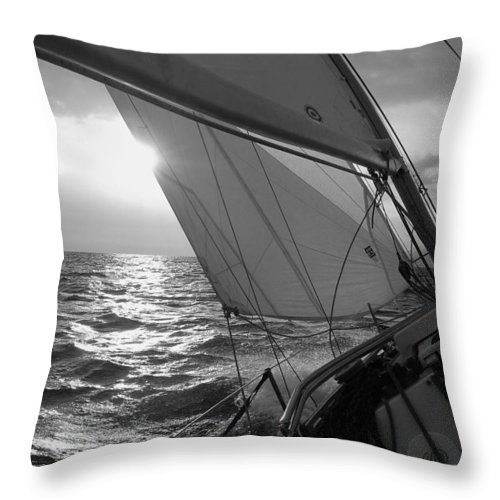 Coquette Sailing Maui Sunset Sails Sailboat Custin Ryan Black And White Water Ocean Spray Yacht Throw Pillow featuring the photograph Coquette Sailing by Dustin K Ryan