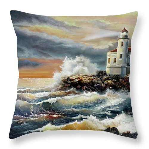 Keywords Coquille River Lighthouse Oregon Throw Pillow featuring the painting Coquille River Lighthouse At Hightide by Regina Femrite