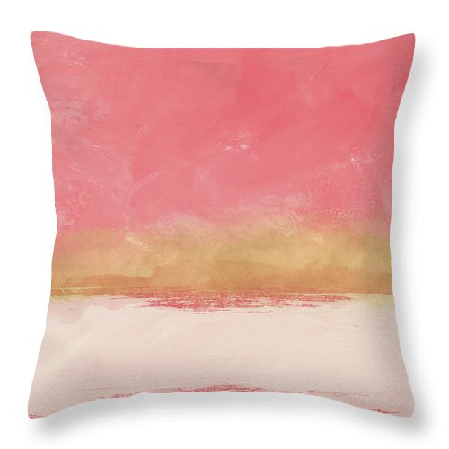 Abstract Throw Pillow featuring the mixed media Coral And Gold Abstract 1- Art By Linda Woods by Linda Woods