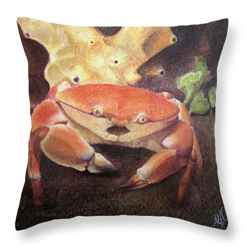 Animals Throw Pillow featuring the painting Coral Crab by Adam Johnson