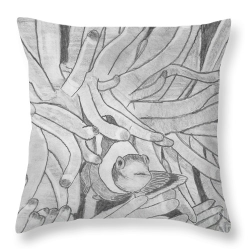 Fish Throw Pillow featuring the drawing Clown Fish by Sherri Gill