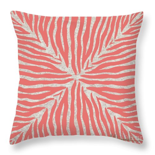 Zebra Throw Pillow featuring the painting Coral Zebra 2 by Marcella Muhammad