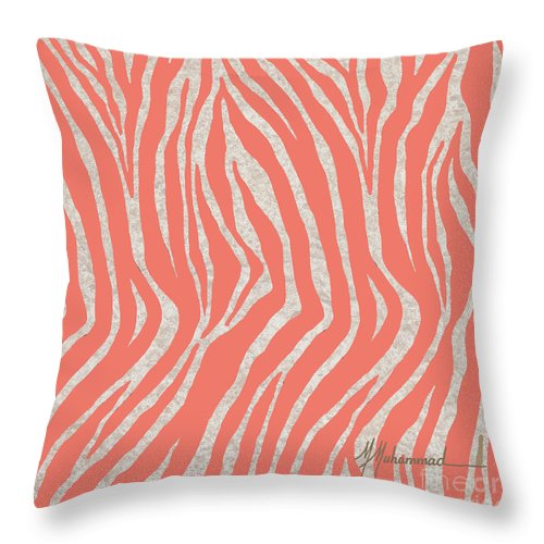 Zebra Throw Pillow featuring the painting coral Zebra 3 by Marcella Muhammad