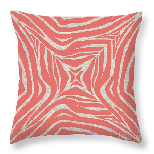 Coral Throw Pillow featuring the painting Coral Zebra by Marcella Muhammad