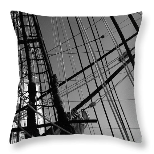 Maritime Throw Pillow featuring the photograph Cordage by Linda Shafer