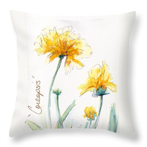 Yellow Throw Pillow featuring the painting Coreopsis by CheyAnne Sexton
