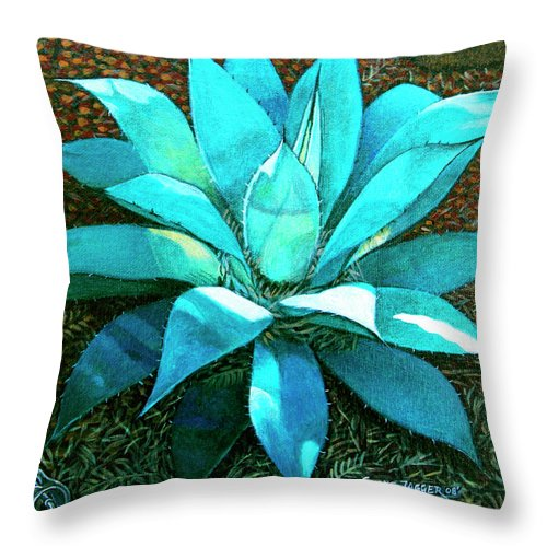 Cactus Throw Pillow featuring the painting Corkscrew by Snake Jagger