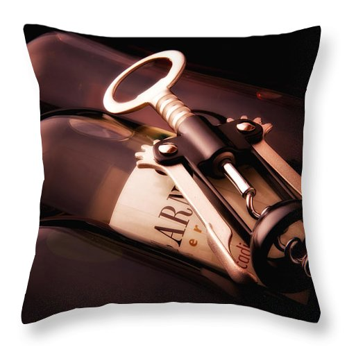Wine Throw Pillow featuring the photograph Corkscrew by Tom Mc Nemar