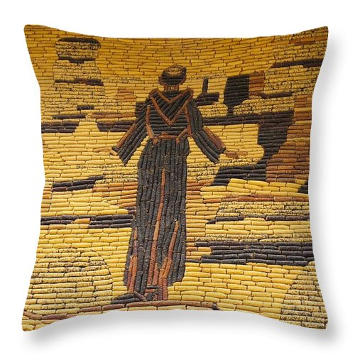 Design Throw Pillow featuring the photograph Corn Art At Corn Palace 06 by Art Spectrum