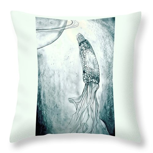 Corn Throw Pillow featuring the drawing Corn In Space by Michelle Calkins