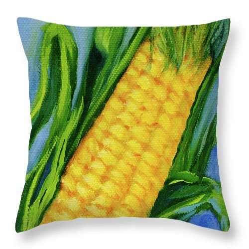 Corn Throw Pillow featuring the painting Corn On The Cob by Vicki VanDeBerghe