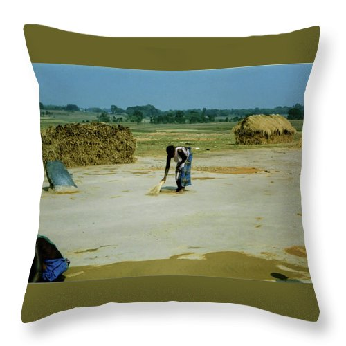 Corn Throw Pillow featuring the photograph Corn Processing by Ujjwal Rout