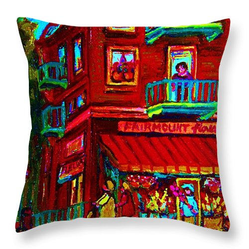 Flowershop Throw Pillow featuring the painting Corner Flowershop by Carole Spandau