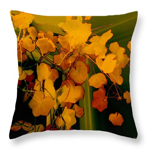 Autumn Throw Pillow featuring the digital art Corner In Green And Gold by RC DeWinter