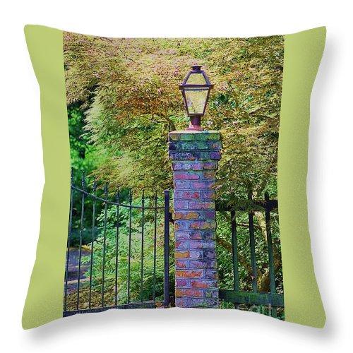 Lantern Throw Pillow featuring the photograph Corner Lantern by Donna Bentley