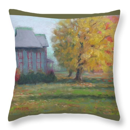 Renovated Older Home Throw Pillow featuring the pastel Corner Of 6th And D by Julie Mayser