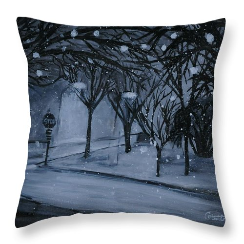 Tempera Throw Pillow featuring the painting Corner Of Broadway And Wilson by Cristina Sofineti