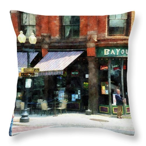 Albany Throw Pillow featuring the photograph Corner Of Columbia And Pearl Albany Ny by Susan Savad