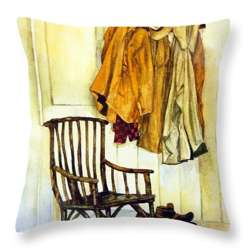 Watercolor Throw Pillow featuring the painting Corner Of The House by Anju Saran