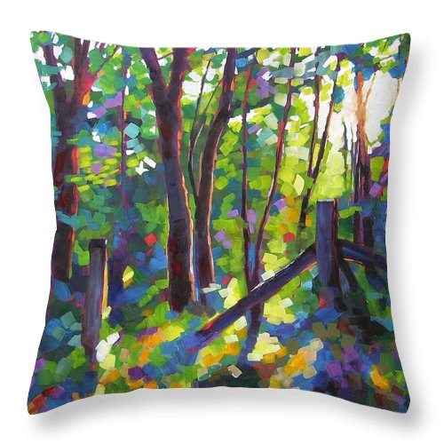 Trees Throw Pillow featuring the painting Corner Post by Mary McInnis