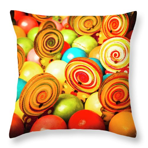 Colourful Throw Pillow featuring the photograph Corner Store Candies by Jorgo Photography - Wall Art Gallery
