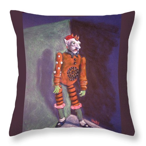 Acrylic Throw Pillow featuring the painting Cornered Marionette Strings Not Included by Dennis Tawes