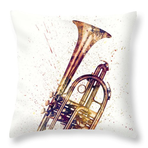 Cornet Throw Pillow featuring the digital art Cornet Abstract Watercolor by Michael Tompsett