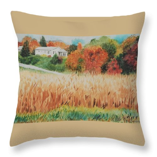 Autumn Throw Pillow featuring the painting Cornfield In Autumn by Judy Swerlick