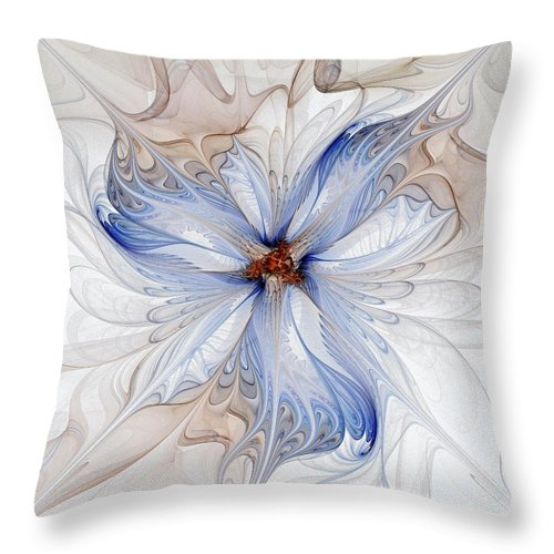 Digital Art Throw Pillow featuring the digital art Cornflower Blues by Amanda Moore