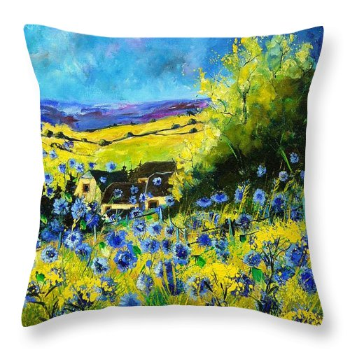 Flowers Throw Pillow featuring the painting Cornflowers In Ver by Pol Ledent