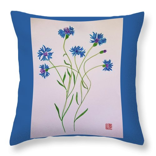 Throw Pillow featuring the painting Cornflowers by Margaret Welsh Willowsilk