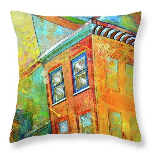 Building Throw Pillow featuring the painting Cornice by Christopher Triner