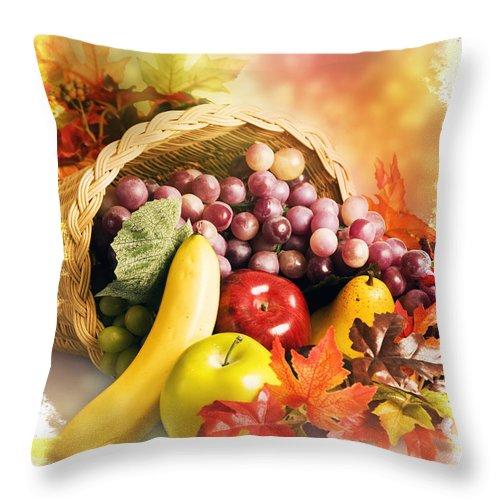 Abundance Throw Pillow featuring the digital art Cornucopia The Horn Of Plenty by Robert Carner