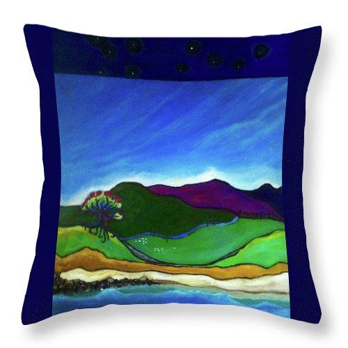 Aotearoa Throw Pillow featuring the painting Coromandel Peninsula by Tanya Johnston
