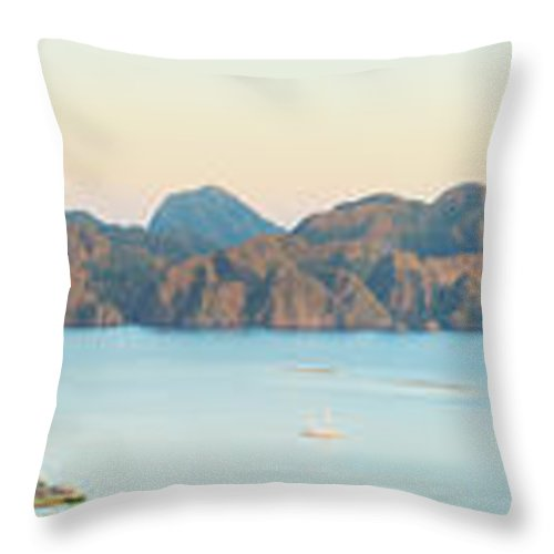 Panorama Throw Pillow featuring the photograph Coron Panorama by MotHaiBaPhoto Prints