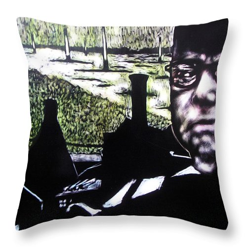 Throw Pillow featuring the mixed media Corporate Ambition by Chester Elmore