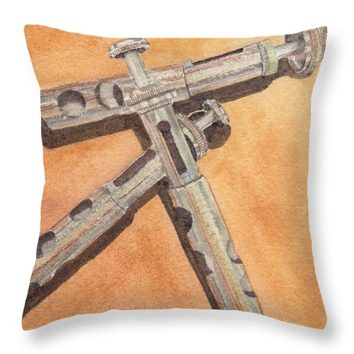 Trumpet Throw Pillow featuring the painting Corroded Trumpet Pistons by Ken Powers
