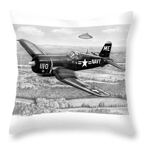 Pencil Throw Pillow featuring the drawing Corsair by Murphy Elliott