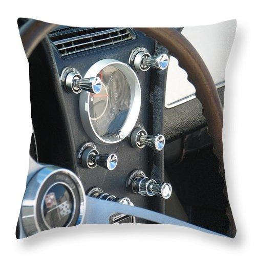 Corvette Throw Pillow featuring the photograph Corvette Console by Kelly Mezzapelle
