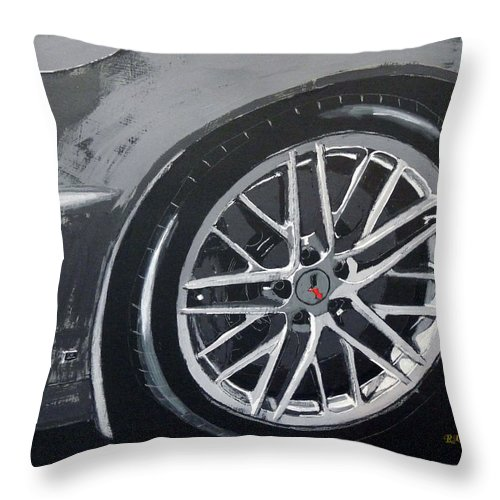 Corvette Throw Pillow featuring the painting Corvette Wheel by Richard Le Page