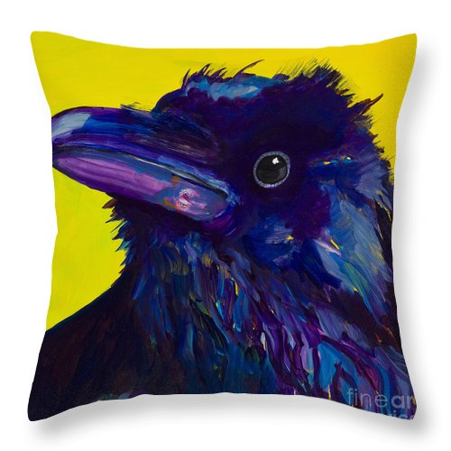 Bird Throw Pillow featuring the painting Corvus by Pat Saunders-White