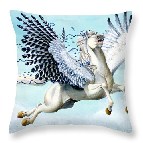 Artwork Throw Pillow featuring the painting Cory Pegasus by Melissa A Benson
