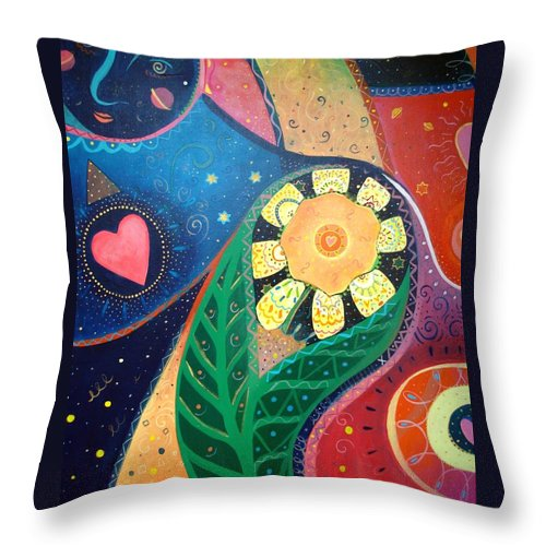 Yin And Yang Throw Pillow featuring the painting Cosmic Carnival II Aka Duality by Helena Tiainen